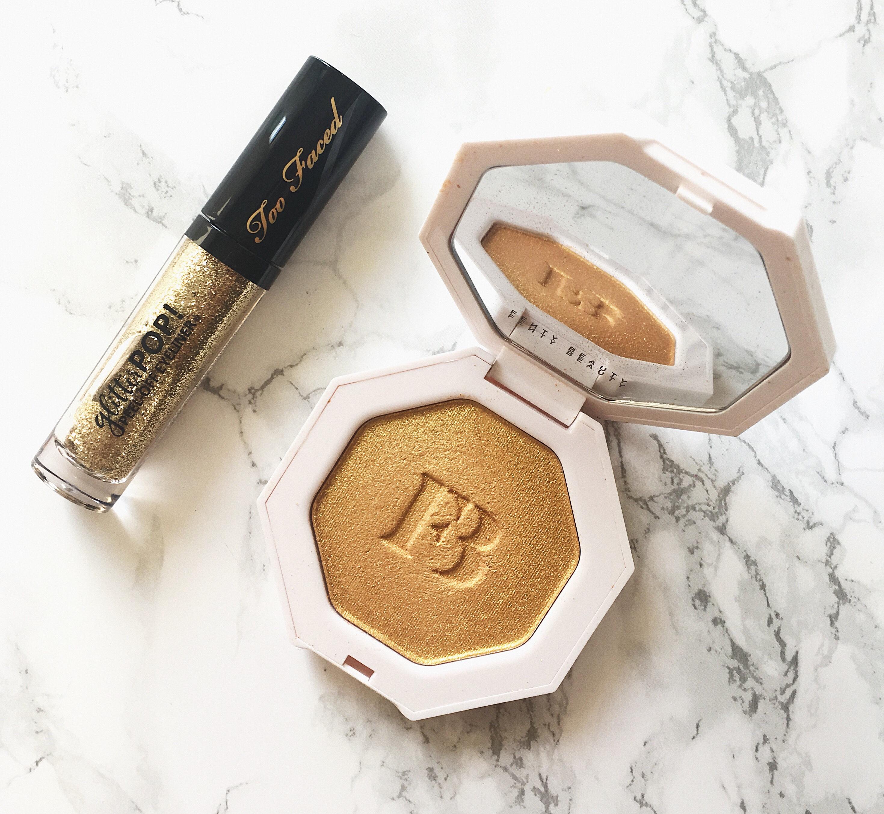 Too Faced Glitter Pop Eyeliner Makeup Rihanna's Fenty Beauty Killawatt Highlighter in Trophy Wife
