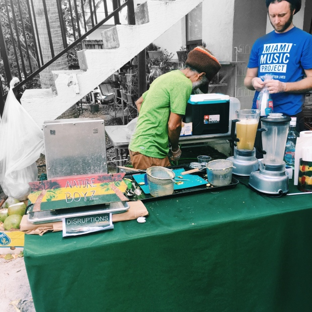 "Nature Boyz serving up organic beverages for guests at ""Disruptions"""