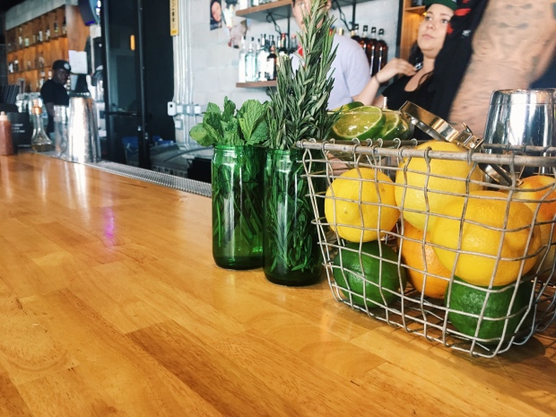 Fresh herbs and citrus for bar beverages