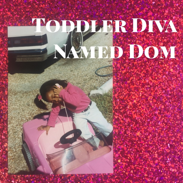 Toddler @DivaNamedDom pretty in pink driving a Barbie Corvette