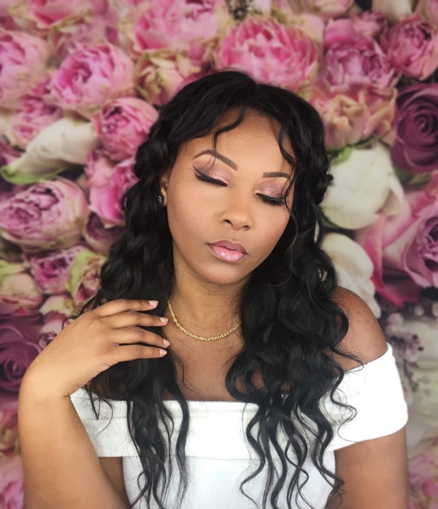 African American Beauty Blogger wearing Anastasia Beverly Hills Soft Glam Palette wedding Spring glam on floral background