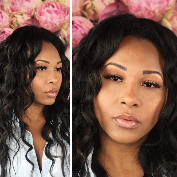 African American Beauty Blogger wearing Anastasia Beverly Hills Soft Glam Palette no makeup makeup on floral background