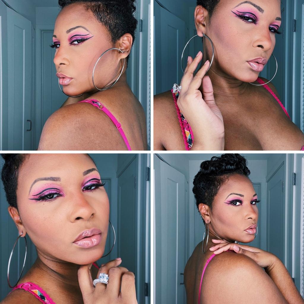 Short cut Black woman wearing Juvia's Place Sweet Pinks Palette